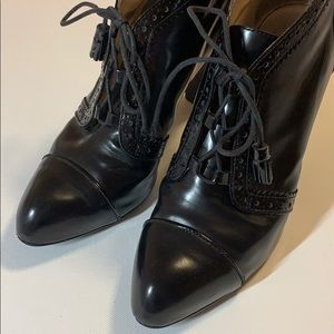 TOD'S | Black Lace Up Platform Booties | Size 37.5